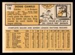1963 Topps #196  Doug Camilli  Back Thumbnail