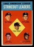 1963 Topps #10  AL Strikeout Leaders  -  Jim Bunning / Camilo Pascual / Jim Kaat / Juan Pizarro / Ralph Terry Front Thumbnail