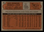 1972 Topps #361   Mike Andrews Back Thumbnail