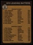 1973 Topps #61  Batting Leaders  -  Billy Williams / Rod Carew Back Thumbnail