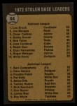 1973 Topps #64  1972 Stolen Base Leaders    -  Lou Brock / Bert Campaneris Back Thumbnail