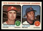 1973 Topps #65  1972 ERA Leaders  -  Steve Carlton / Luis Tiant Front Thumbnail