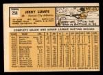 1963 Topps #256  Jerry Lumpe  Back Thumbnail