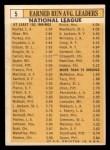 1963 Topps #5  1962 NL ERA Leaders  -  Sandy Koufax / Don Drysdale / Bob Gibson / Bob Shaw / Bob Purkey Back Thumbnail