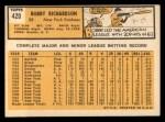 1963 Topps #420  Bobby Richardson  Back Thumbnail