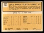 1963 Topps #146  1962 World Series - Game #5 - Tresh's Homer Defeats Giants  -  Tom Tresh Back Thumbnail