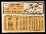 1963 Topps #161   Frank Torre Back Thumbnail