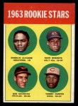 1963 Topps #158   Rookie Stars    -  Rogelio Alvarez / Dave Roberts / Tommy Harper / Bob Saverine Front Thumbnail