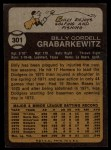 1973 Topps #301   Billy Grabarkewitz Back Thumbnail
