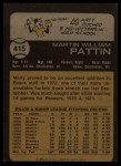 1973 Topps #415   Marty Pattin Back Thumbnail