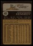 1973 Topps #437   John Kennedy Back Thumbnail