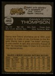 1973 Topps #443   Danny Thompson Back Thumbnail