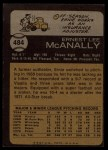 1973 Topps #484   Ernie McAnally Back Thumbnail