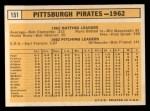 1963 Topps #151   Pirates Team Back Thumbnail