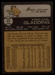1973 Topps #17   Fred Gladding Back Thumbnail