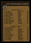 1973 Topps #64  1972 Stolen Base Leaders    -  Lou Brock / Bert Campaneris Back Thumbnail