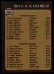 1973 Topps #65  ERA Leaders  -  Steve Carlton / Luis Tiant Back Thumbnail