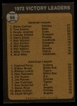 1973 Topps #66  1972 Victory Leaders  -  Steve Carlton / Gaylord Perry / Wilbur Wood Back Thumbnail
