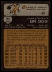 1973 Topps #71   Johnny Briggs Back Thumbnail