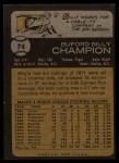 1973 Topps #74   Billy Champion Back Thumbnail