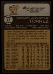 1973 Topps #77   Mike Torrez Back Thumbnail