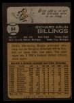 1973 Topps #94   Dick Billings Back Thumbnail