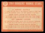 1964 Topps #337  Dodgers Rookies  -  Al Ferrara / Jeff Torborg Back Thumbnail