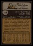 1973 Topps #143   John Curtis Back Thumbnail