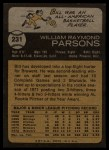 1973 Topps #231  Bill Parsons  Back Thumbnail
