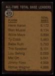 1973 Topps #473  All-Time Total Base Leader  -  Hank Aaron Back Thumbnail