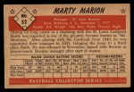 1953 Bowman #52  Marty Marion  Back Thumbnail