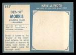 1961 Topps #147  Dennit Morris  Back Thumbnail