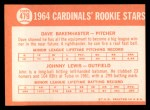1964 Topps #479   -  Dave Bakenhaster / Johnny Lewis Cardinals Rookies Back Thumbnail