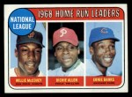 1969 Topps #6  1968 NL HR Leaders  -  Willie McCovey / Dick Allen / Ernie Banks Front Thumbnail
