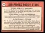 1969 Topps #592  Padres Rookies   -   Rafael Robles / Al Santorini Back Thumbnail
