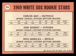 1969 Topps #654  White Sox Rookies    -  Carlos May / Rich Morales / Don Secrist Back Thumbnail