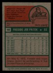 1975 Topps Mini #48  Fred Patek  Back Thumbnail