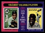 1975 Topps Mini #192   -  Yogi Berra / Willie Mays 1954 MVPs Front Thumbnail