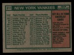 1975 Topps Mini #611  Yankees Team Checklist  -  Bill Virdon Back Thumbnail