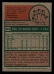 1975 Topps Mini #452   Angel Mangual Back Thumbnail