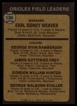 1973 Topps #136 ^ORG^  -  Earl Weaver / George Bamberger / Jim Frey / Billy Hunter / George Staller Orioles Leaders Back Thumbnail