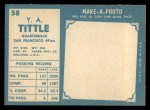 1961 Topps #58   Y.A. Tittle Back Thumbnail