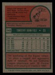 1975 Topps Mini #149   Tim Foli Back Thumbnail