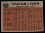 1962 Topps #312   -  Warren Spahn Spahn Shows No-Hit Form Back Thumbnail
