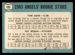 1965 Topps #486   Angels Rookie Stars  -  Tom Egan / Pat Rogan Back Thumbnail
