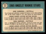 1965 Topps #374   Angels Rookie Stars  -  Jose Cardenal / Dick Simpson Back Thumbnail