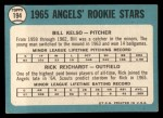 1965 Topps #194  Angels Rookies  -  Bill Kelso / Rick Reichardt Back Thumbnail