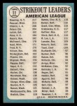 1965 Topps #11  1964 AL Strikeout Leaders  -  Dean Chance / Al Downing / Camilo Pascual Back Thumbnail