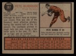 1962 Topps #207  Pete Burnside  Back Thumbnail