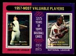 1975 Topps Mini #195  1957 MVPs  -  Mickey Mantle / Hank Aaron Front Thumbnail
